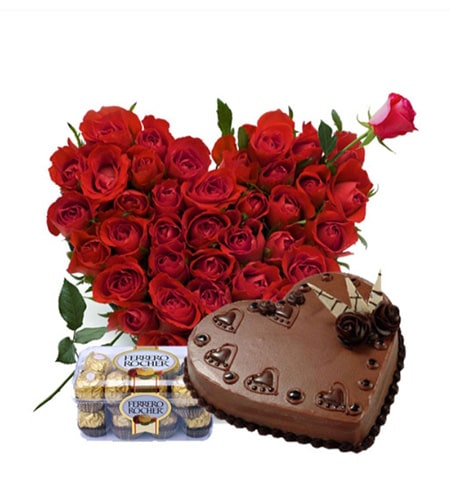 Roses arrangement with 1.2 pound cake and cholocates