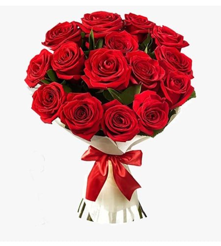 Delightful 15 red rose bouquet