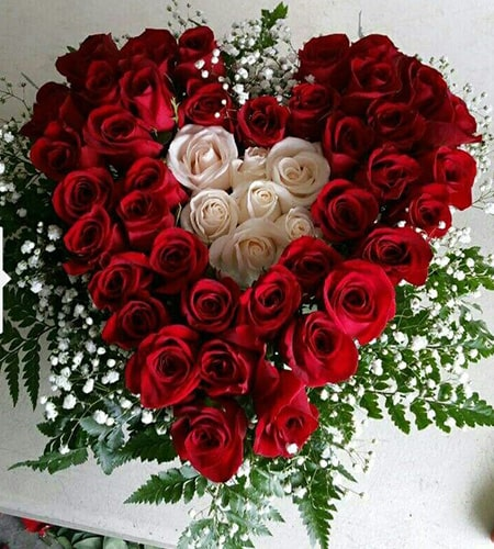Superb red and white roses arrangement