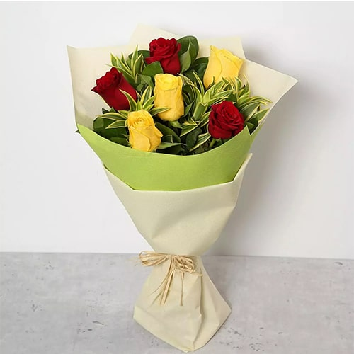 Red and Yellow Roses Bouquet Standard