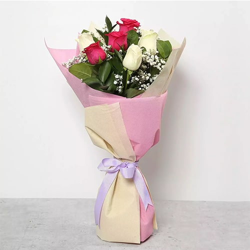 Pink and White Roses Bouquet Standard