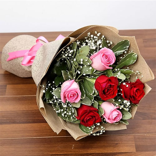 Pink and Red Roses Bouquet Standard