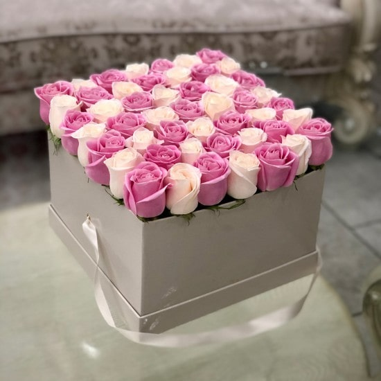 adorable Pink and White Roses in Large Square Box