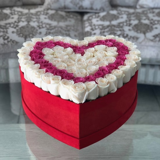 awful Heart Box With White & Pink Roses